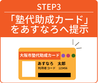 STEP3「塾代助成カード」をあすなろへ提示