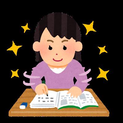 勉強を頑張る女の子の図