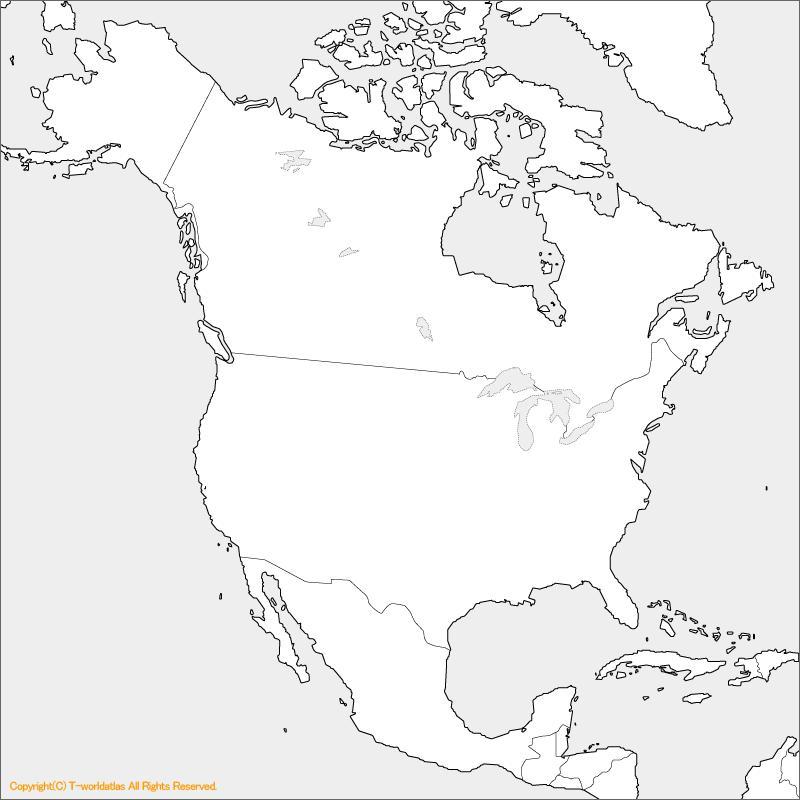 アメリカ・カナダの白地図