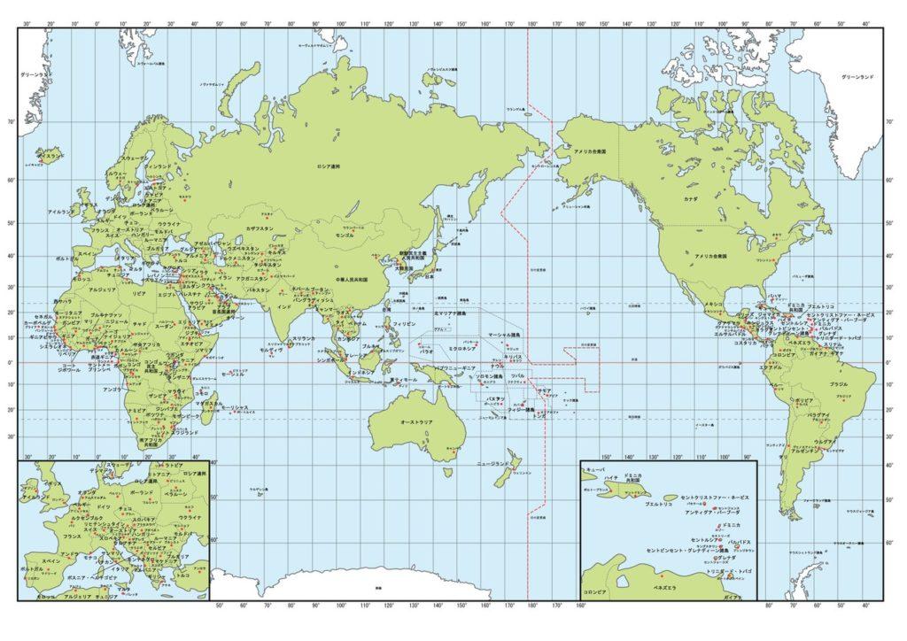 世界地図(日付変更線が中心)