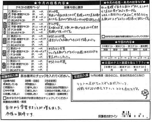 大阪市城東区の指導報告書画像