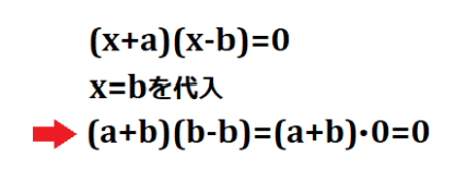 (x+a)(x-b)=0にx=bを代入した時の結果