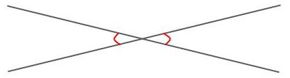 対頂角を赤い曲線で示した図