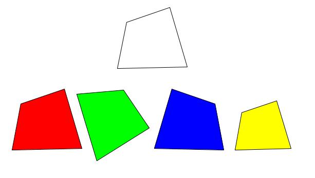 上段の無色の四角形と下段の色付きの四角形を示した図