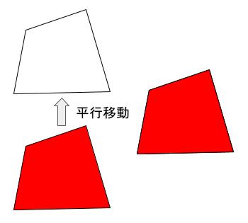 赤の四角形を平行移動すると、無色の四角形にピッタリ重ね合わせられ、 合同であることが示される