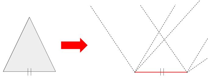 2つの三角形の1辺が等しい場合、三角形は一意に決まらない