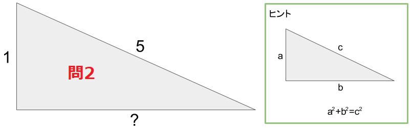 直角をなす1辺が1と斜めの辺が5のときの、もう一辺の長さを求める式の図