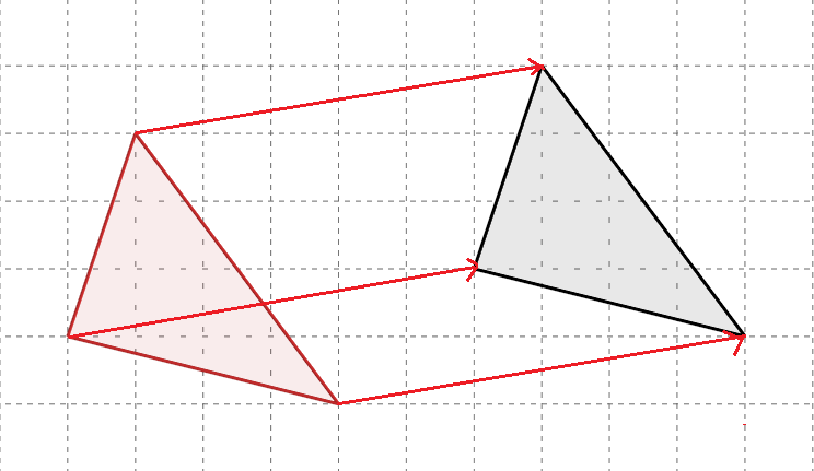 向きと形と大きさが等しい二つの三角形の頂点に線を引いた図