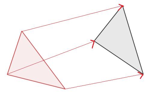 形と大きさと向きが同じ三角形の頂点にせんを引いた図