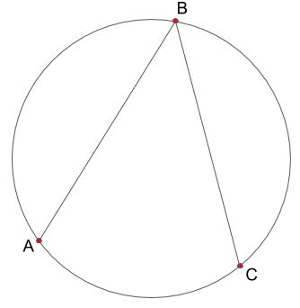 円と円周上の三点ABCと、線分AB、線分BCの図