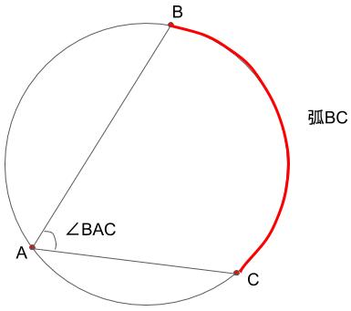 弧BCに対する円周角BACを表した図