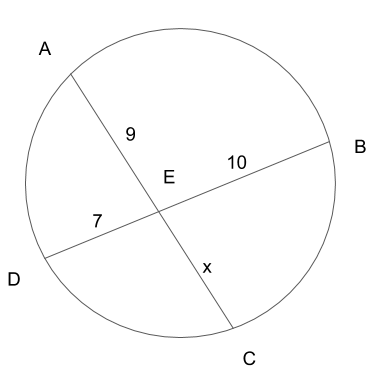 円の中の2本線の線分の長さを解く問題の出題図