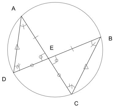 相似な図形の角が等しく、辺の比が等しいことを示した図