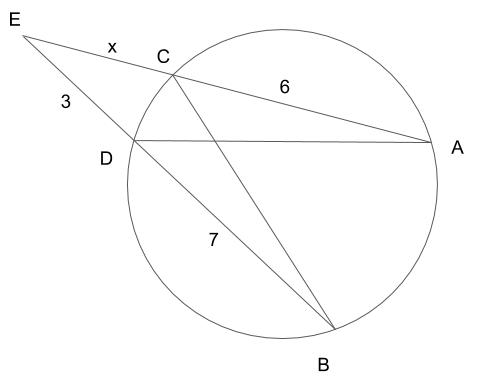 円周に交わって出来る線・図形の関係についての問題の出題図