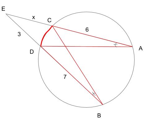 弧CDに対する円周角∠CADと∠DBCは等しい