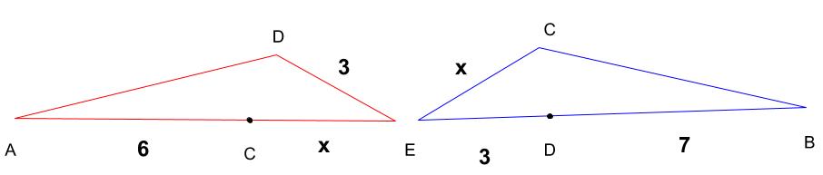 相似な図形をバラバラにして、対象にし、各辺に対する長さを表した図
