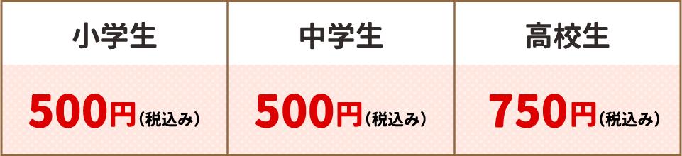 小学生:500円(税込み)・中学生500円(税込み)・高校生:750円(税込み)