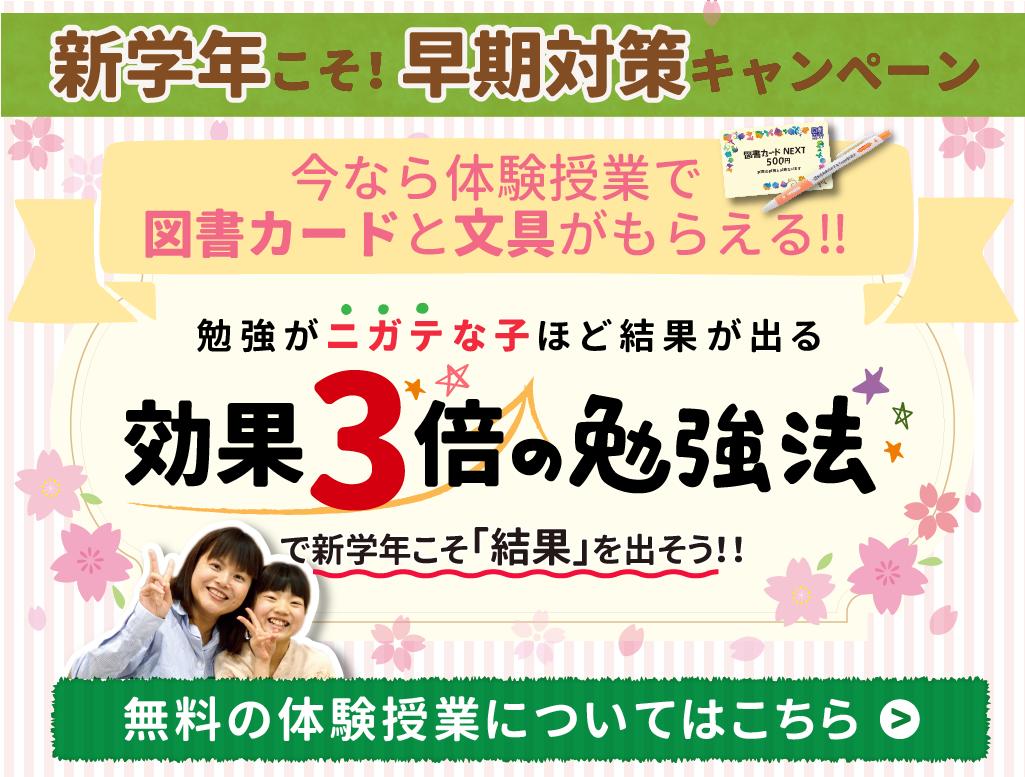 2020年3月1日更新期間限定キャンペーン【新学年こそ!早期対策キャンペーン期間3月1日から4月30日まで。