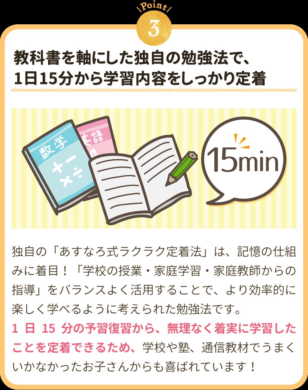 教科書を軸にした独自の勉強法で1日15分から学習内容をしっかり定着